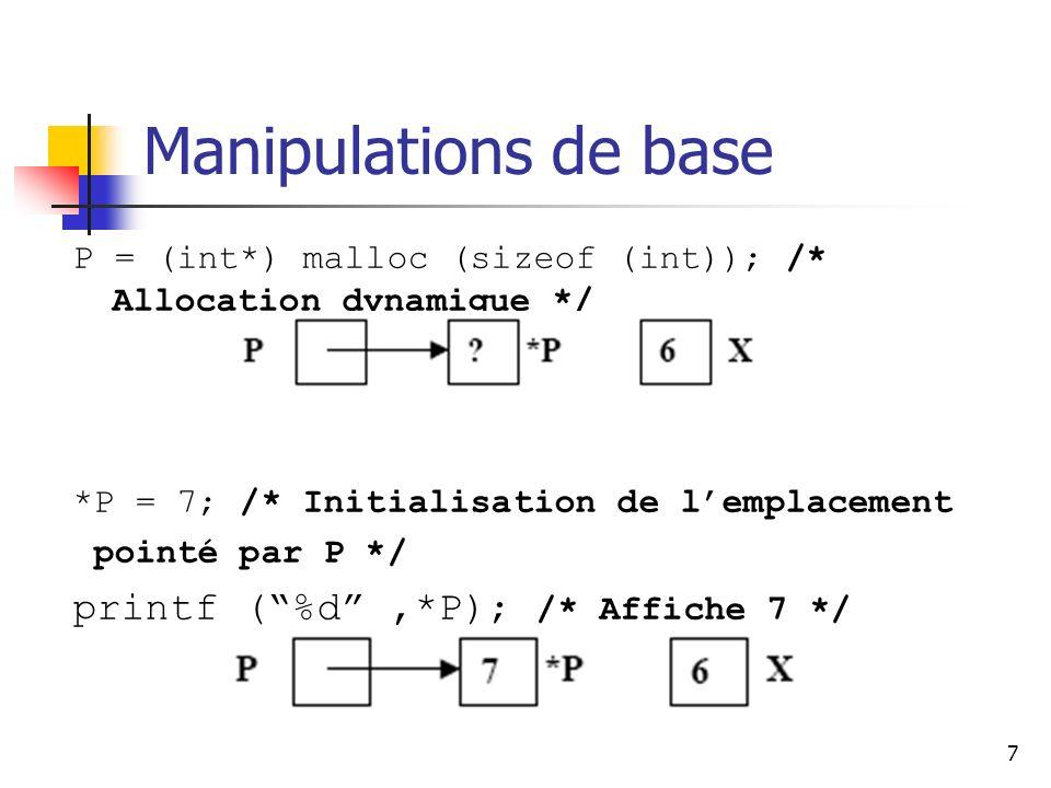 7 Manipulations de base P = (int*) malloc (sizeof (int)); /* Allocation dynamique */ *P = 7; /* Initialisation de lemplacement pointé par P */ printf