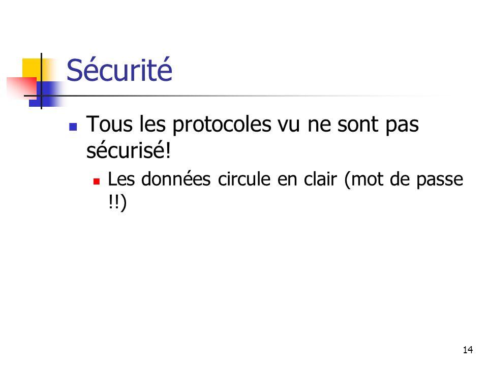 Sécurité Tous les protocoles vu ne sont pas sécurisé! Les données circule en clair (mot de passe !!) 14