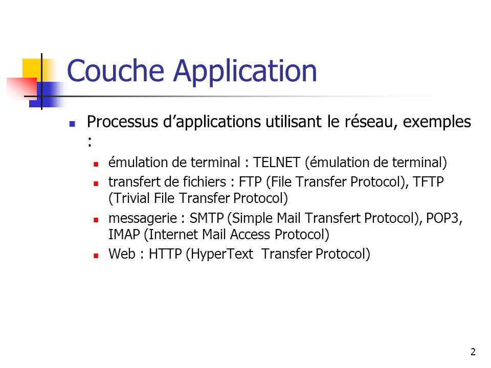 Couche Application Processus dapplications utilisant le réseau, exemples : émulation de terminal : TELNET (émulation de terminal) transfert de fichier