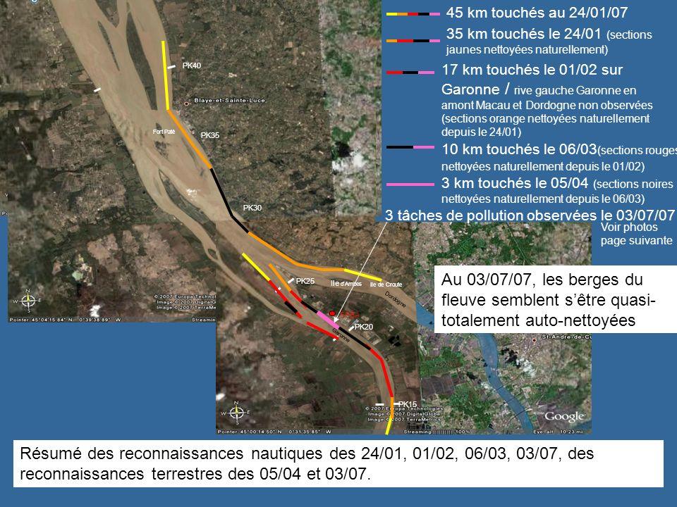 Tâches résiduelles constatées le 03/07/2007 au droit de la centrale EDF Végétation de lannée sur pied non souillée.