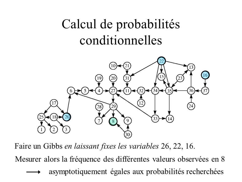 Calcul de probabilités conditionnelles Faire un Gibbs en laissant fixes les variables 26, 22, 16. Mesurer alors la fréquence des différentes valeurs o