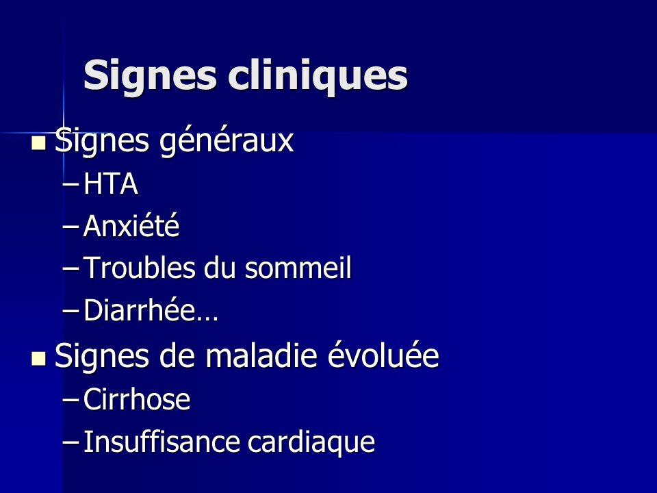 Signes cliniques Signes généraux Signes généraux –HTA –Anxiété –Troubles du sommeil –Diarrhée… Signes de maladie évoluée Signes de maladie évoluée –Ci