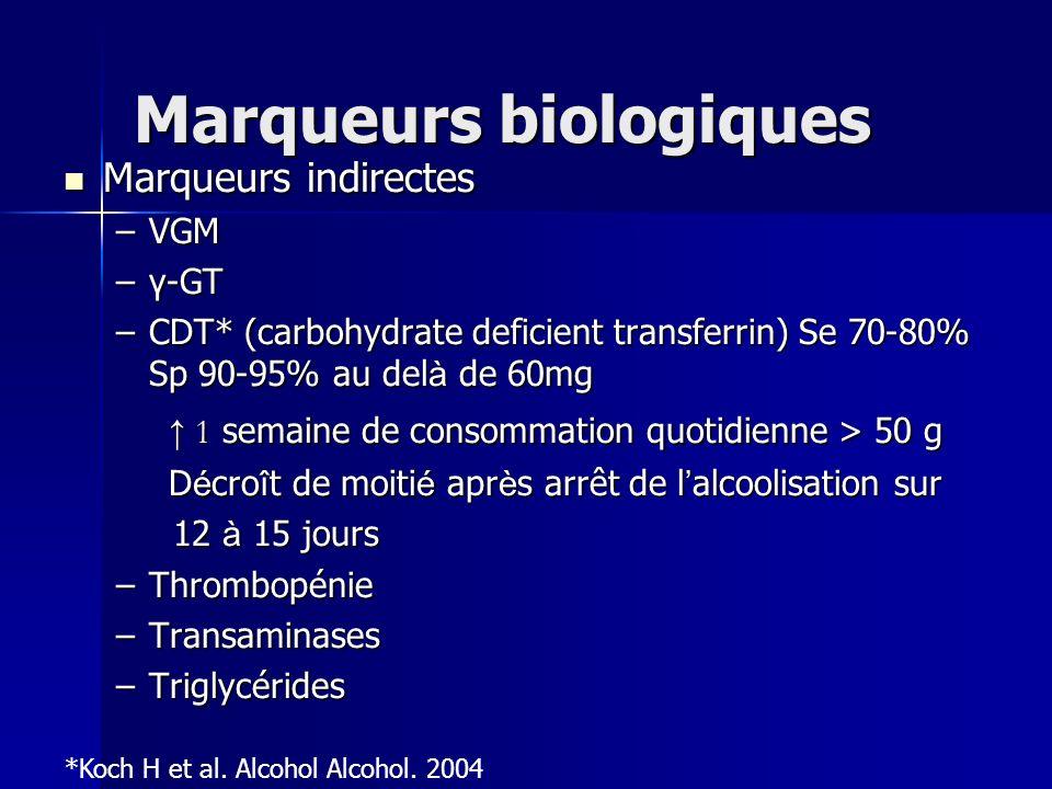 Marqueurs biologiques Marqueurs indirectes Marqueurs indirectes –VGM –γ-GT –CDT* (carbohydrate deficient transferrin) Se 70-80% Sp 90-95% au del à de