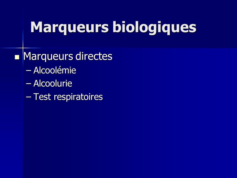 Marqueurs biologiques Marqueurs directes Marqueurs directes –Alcoolémie –Alcoolurie –Test respiratoires