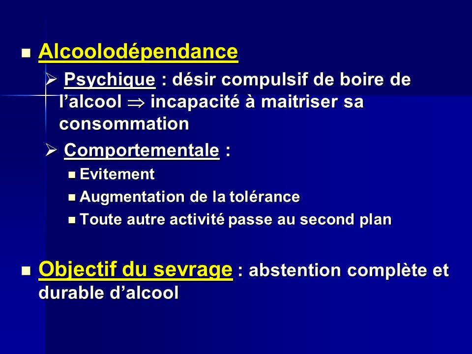 Alcoolodépendance Alcoolodépendance Psychique : désir compulsif de boire de lalcool incapacité à maitriser sa consommation Psychique : désir compulsif