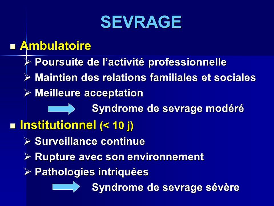 SEVRAGE Ambulatoire Ambulatoire Poursuite de lactivité professionnelle Poursuite de lactivité professionnelle Maintien des relations familiales et soc