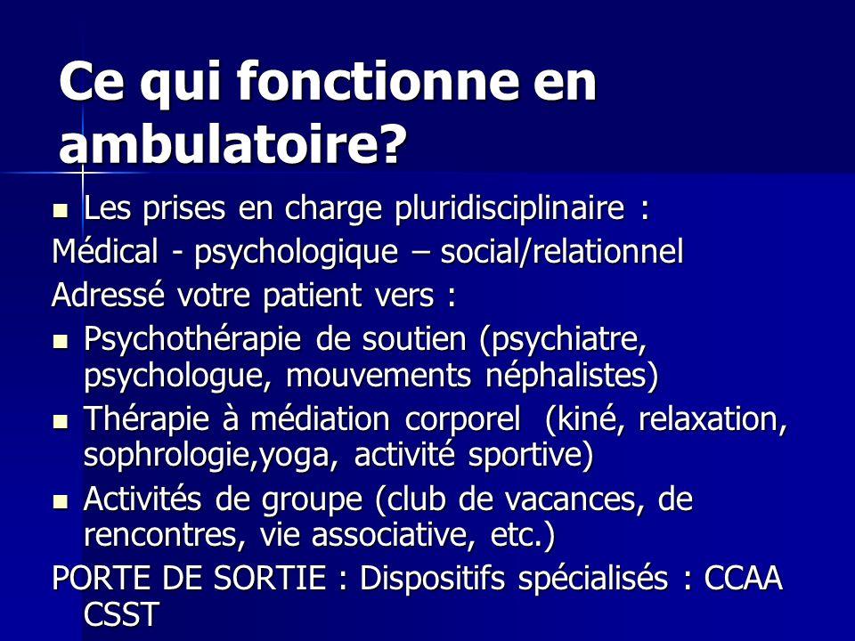 Ce qui fonctionne en ambulatoire? Les prises en charge pluridisciplinaire : Les prises en charge pluridisciplinaire : Médical - psychologique – social