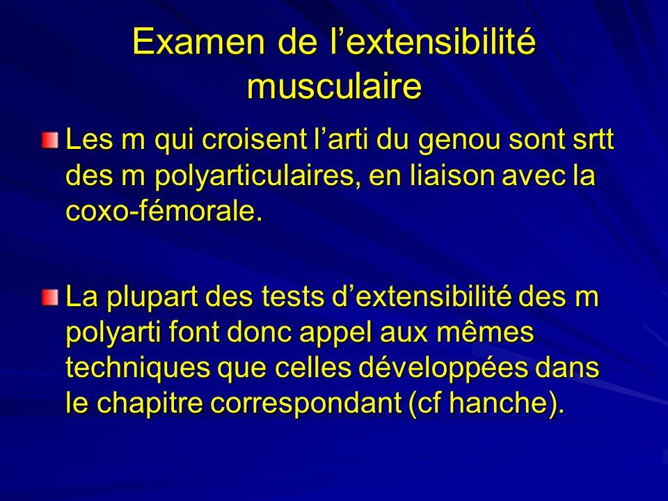 Examen de lextensibilité musculaire Les m qui croisent larti du genou sont srtt des m polyarticulaires, en liaison avec la coxo-fémorale. La plupart d