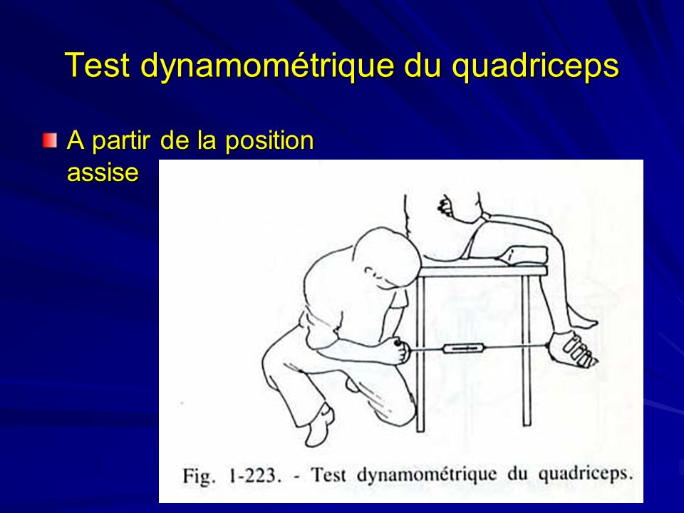 Test dynamométrique du quadriceps A partir de la position assise