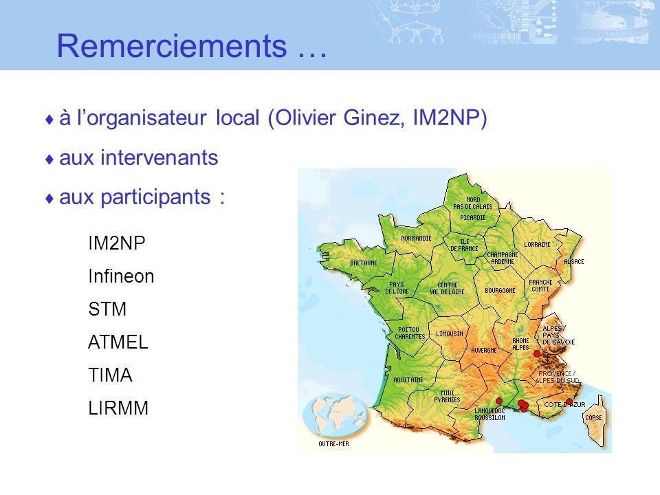 Remerciements … à lorganisateur local (Olivier Ginez, IM2NP) aux intervenants aux participants : IM2NP Infineon STM ATMEL TIMA LIRMM