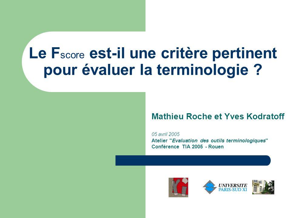 TIA, 05/04/2005 12 Conclusions et perspectives Avantage des courbes ROC comme critère d évaluation : pas de sensibilité d un éventuel déséquilibre entre les classes (nombre d exemples positifs et négatifs).