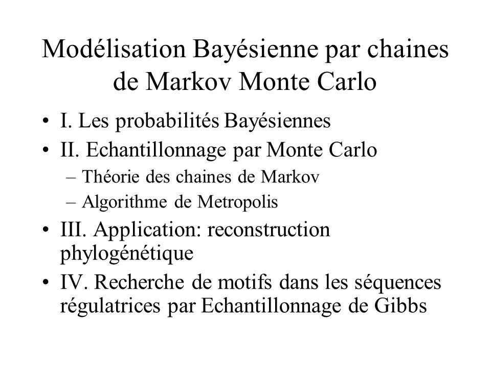 Modélisation Bayésienne par chaines de Markov Monte Carlo I. Les probabilités Bayésiennes II. Echantillonnage par Monte Carlo –Théorie des chaines de