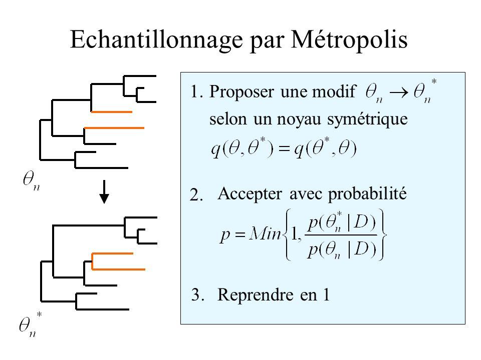 Echantillonnage par Métropolis 1. 2. 3.Reprendre en 1 Accepter avec probabilité Proposer une modif selon un noyau symétrique