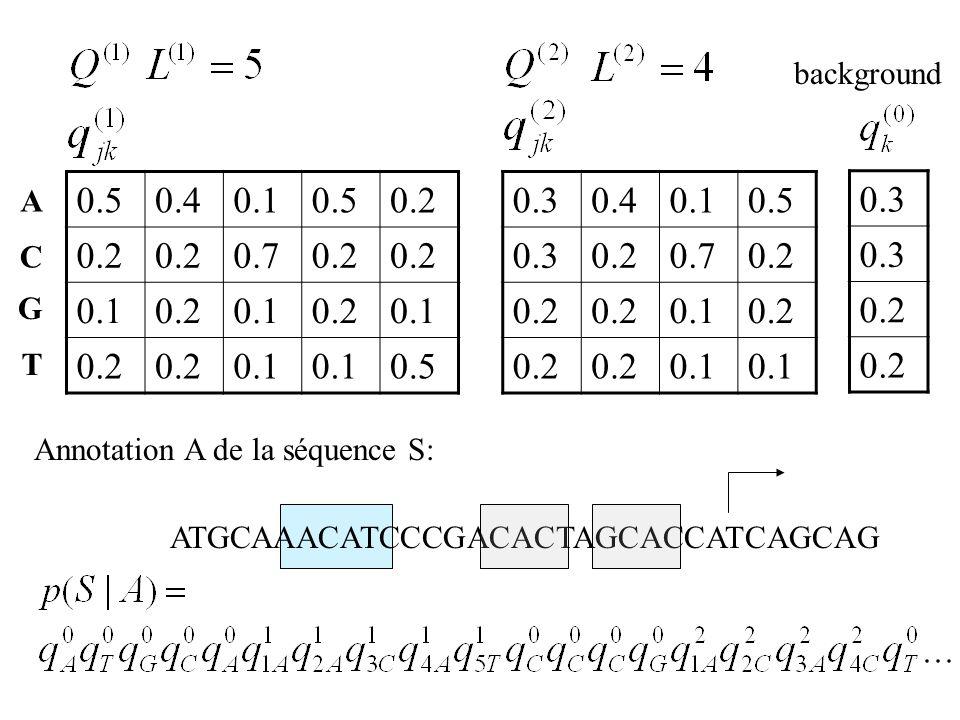 0.50.40.10.50.2 0.70.2 0.10.20.10.20.1 0.2 0.1 0.5 A C G T ATGCAAACATCCCGACACTAGCACCATCAGCAG 0.30.40.10.5 0.30.20.70.2 0.10.2 0.1 0.3 0.2 background A