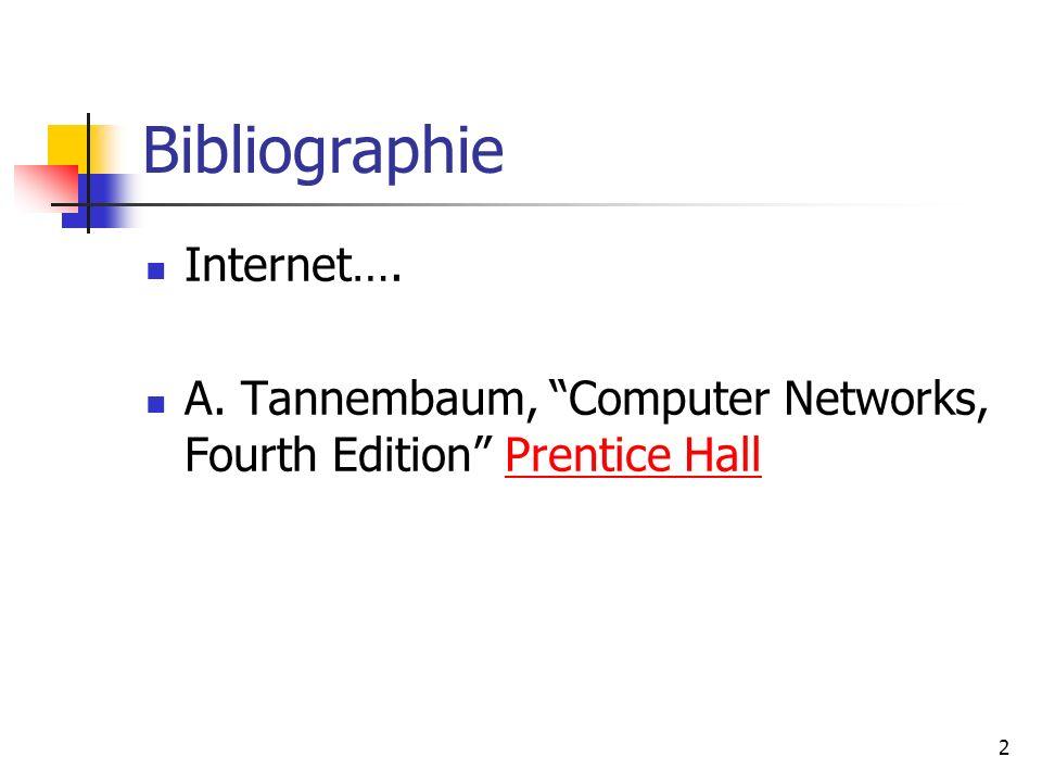 Bibliographie Internet…. A. Tannembaum, Computer Networks, Fourth Edition Prentice HallPrentice Hall 2