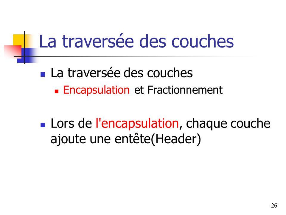 La traversée des couches Encapsulation et Fractionnement Lors de l'encapsulation, chaque couche ajoute une entête(Header) 26