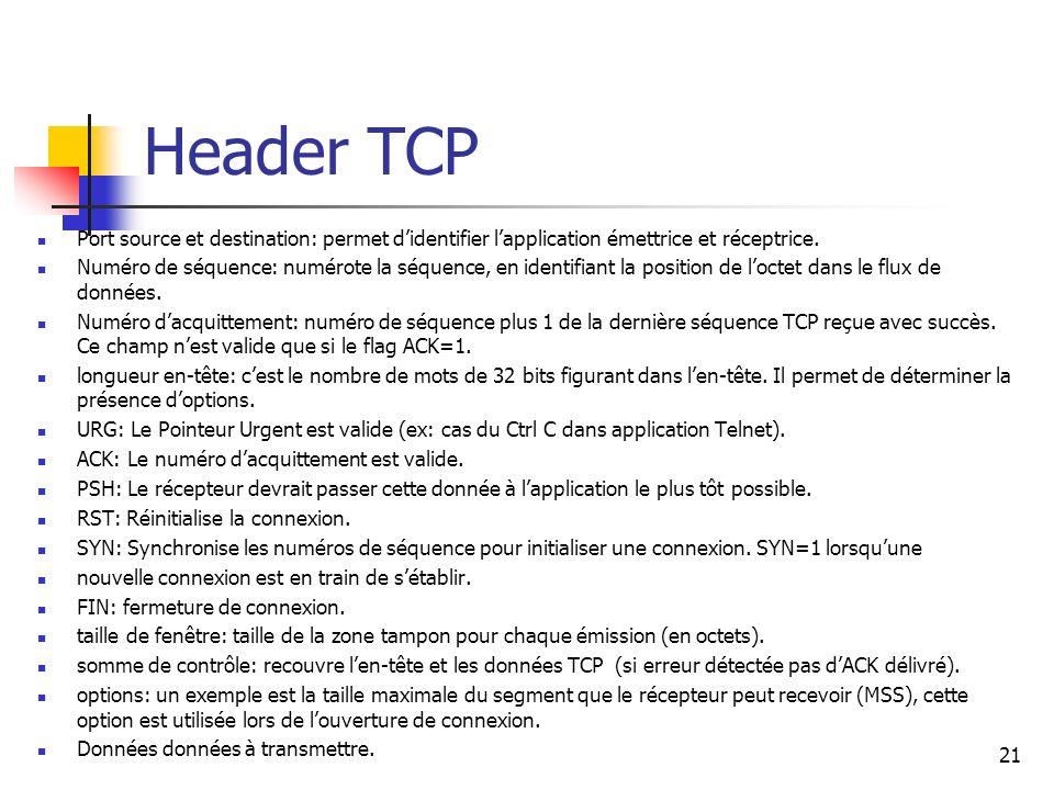 Header TCP Port source et destination: permet didentifier lapplication émettrice et réceptrice. Numéro de séquence: numérote la séquence, en identifia
