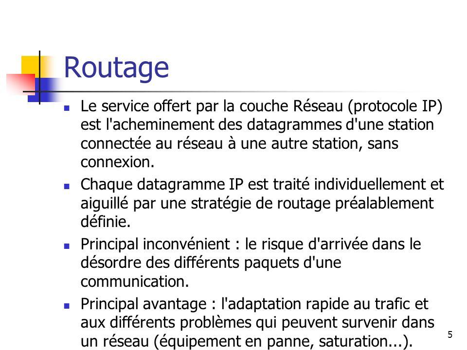 Routage Le service offert par la couche Réseau (protocole IP) est l'acheminement des datagrammes d'une station connectée au réseau à une autre station