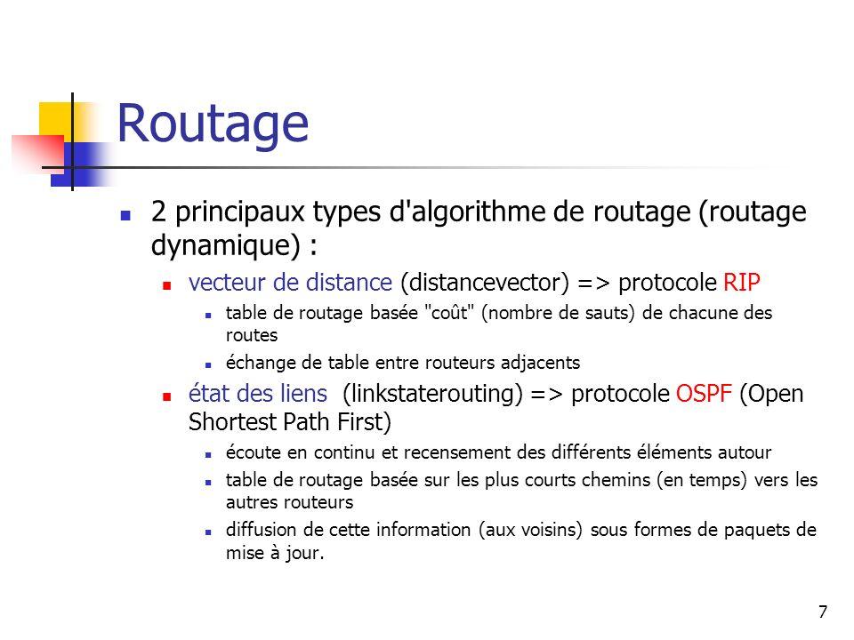 Routage 2 principaux types d'algorithme de routage (routage dynamique) : vecteur de distance (distancevector) => protocole RIP table de routage basée
