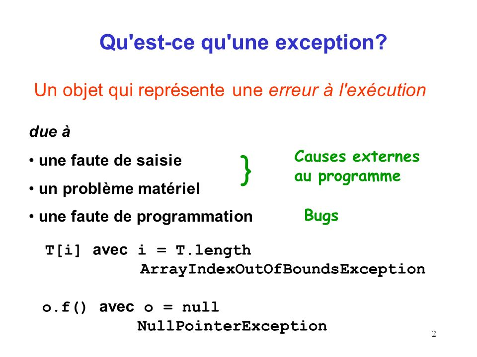 13 public Point(int x, int y) { if ((x < 0)    (y < 0)) throw new PointCoordException ( création pt invalide + x + + y); this.x = x; this.y = y; } throws PointCoordException