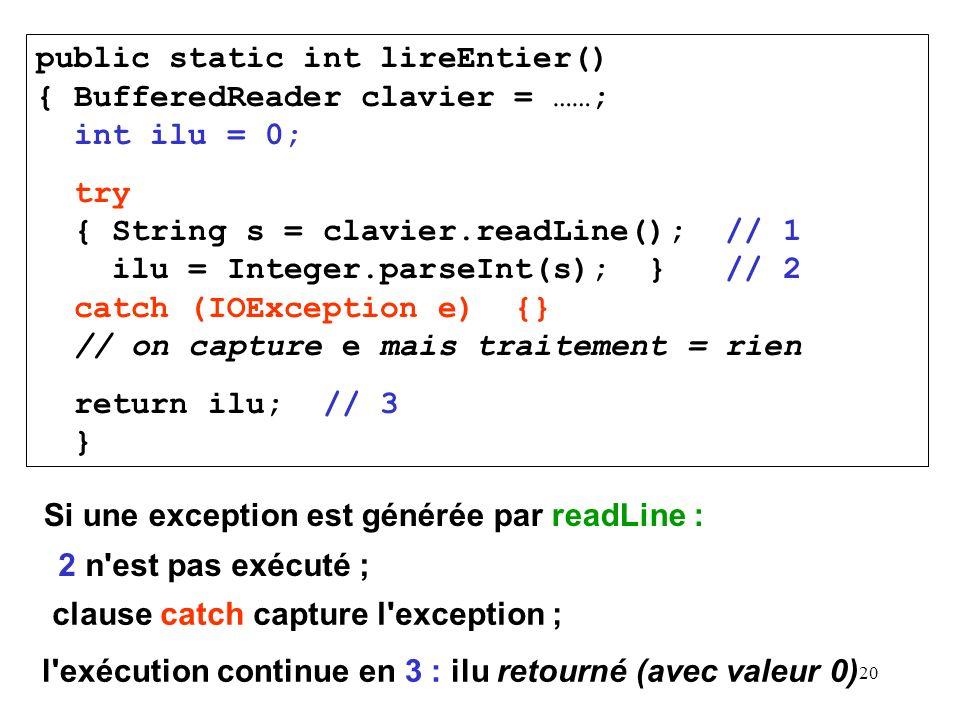 20 public static int lireEntier() { BufferedReader clavier = ……; int ilu = 0; try { String s = clavier.readLine(); // 1 ilu = Integer.parseInt(s); } /