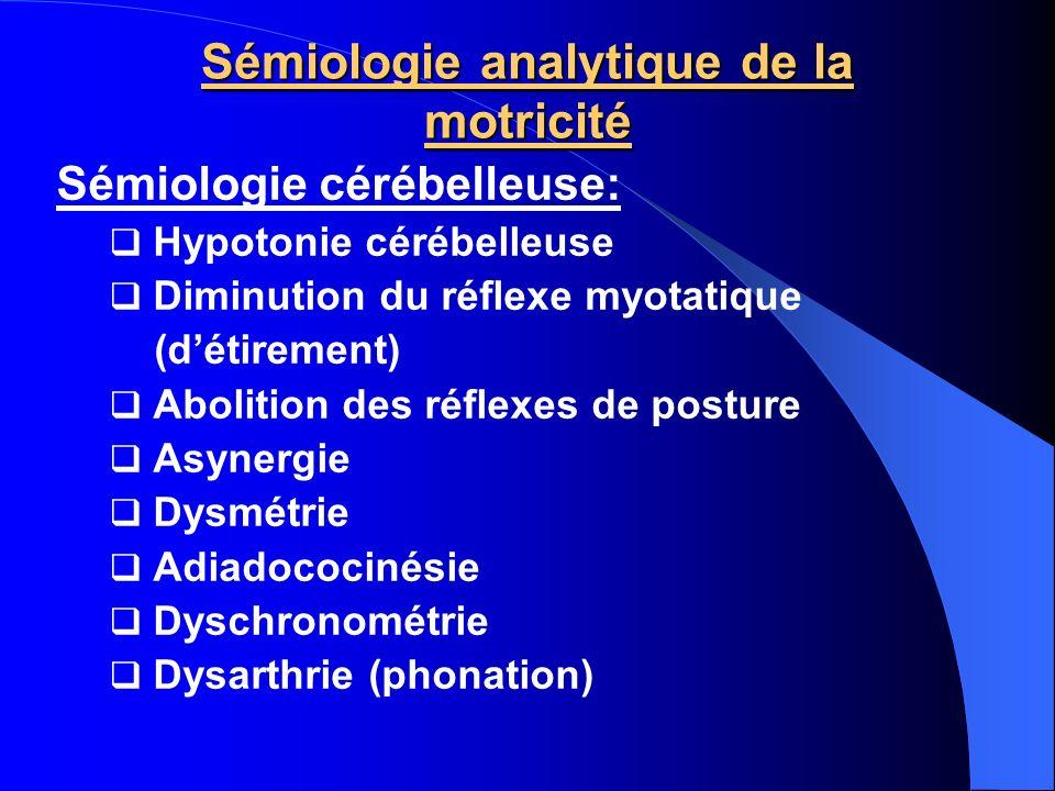 Sémiologie analytique de la motricité Sémiologie cérébelleuse: Hypotonie cérébelleuse Diminution du réflexe myotatique (détirement) Abolition des réfl