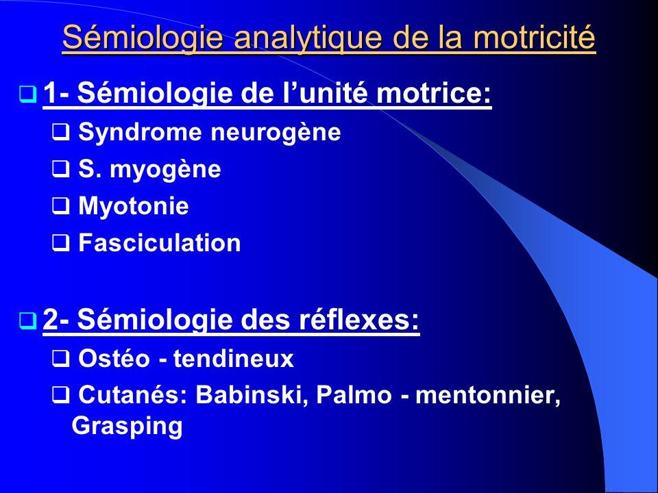 Sémiologie analytique de la motricité 1- Sémiologie de lunité motrice: Syndrome neurogène S. myogène Myotonie Fasciculation 2- Sémiologie des réflexes