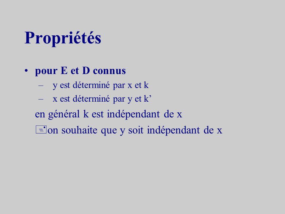 Propriétés pour E et D connus –y est déterminé par x et k –x est déterminé par y et k en général k est indépendant de x on souhaite que y soit indépendant de x