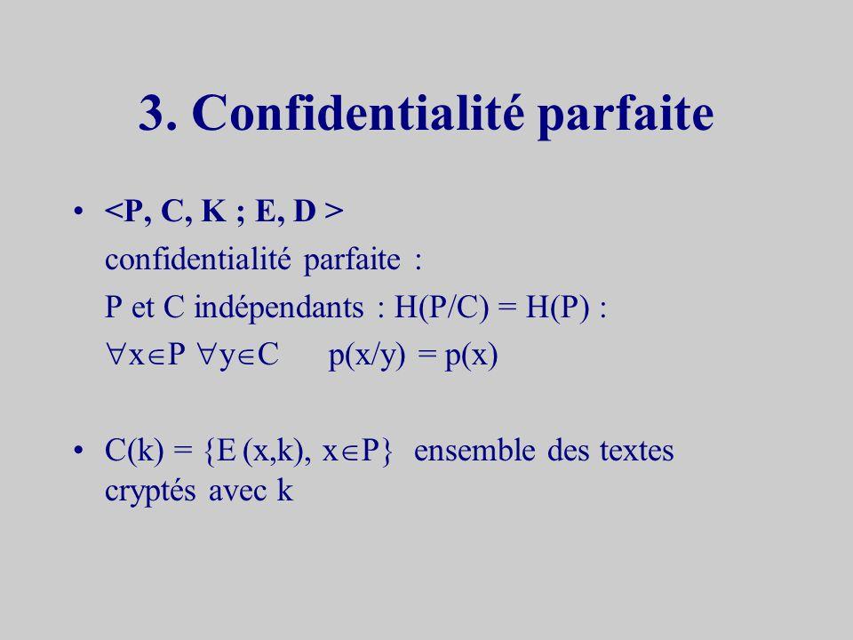 Propriétés H(K/C) = H(K) + H(P) - H(C) Preuve RappelH(X,Y) = H(Y,X) = H(Y/X) + H(X) H(K,P,C) = H(C/K,P) + H(K,P) = H(K) + H(P) H(K,P,C) = H(P/K,C) + H