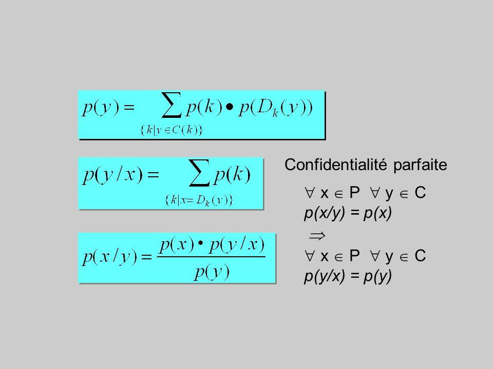 3. Confidentialité parfaite confidentialité parfaite : P et C indépendants : H(P/C) = H(P) : x P y C p(x/y) = p(x) C(k) = {E (x,k), x P}ensemble des t