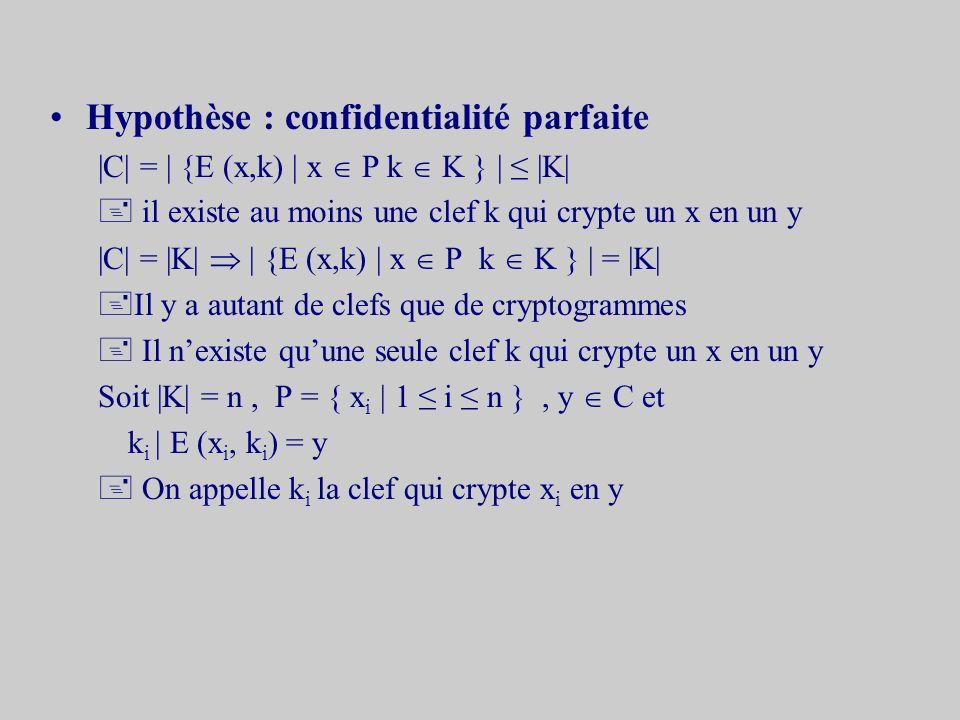 Hypothèse : confidentialité parfaite |C| = | {E (x,k) | x P k K } | |K| + il existe au moins une clef k qui crypte un x en un y |C| = |K| | {E (x,k) | x P k K } | = |K| +Il y a autant de clefs que de cryptogrammes + Il nexiste quune seule clef k qui crypte un x en un y Soit |K| = n, P = { x i | 1 i n }, y C et k i | E (x i, k i ) = y On appelle k i la clef qui crypte x i en y
