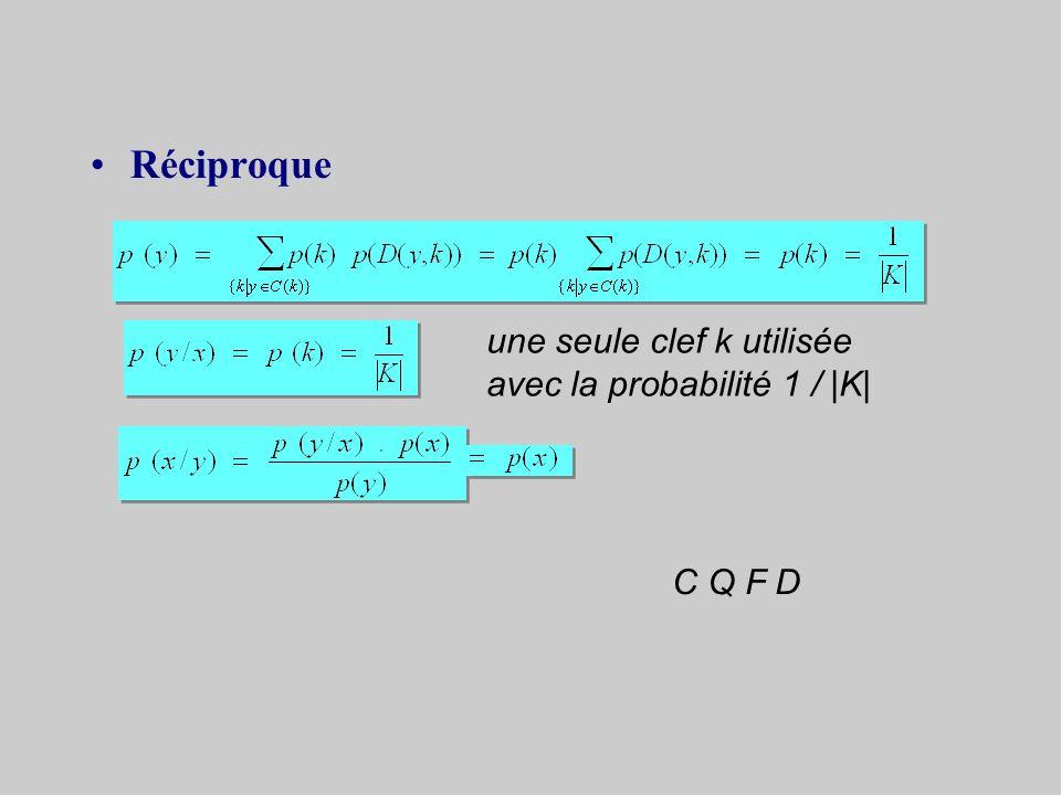 + toutes les clefs de cryptage ont la même probabilité confidentialité parfaite +p (k i ) = 1 / |K| C Q F D