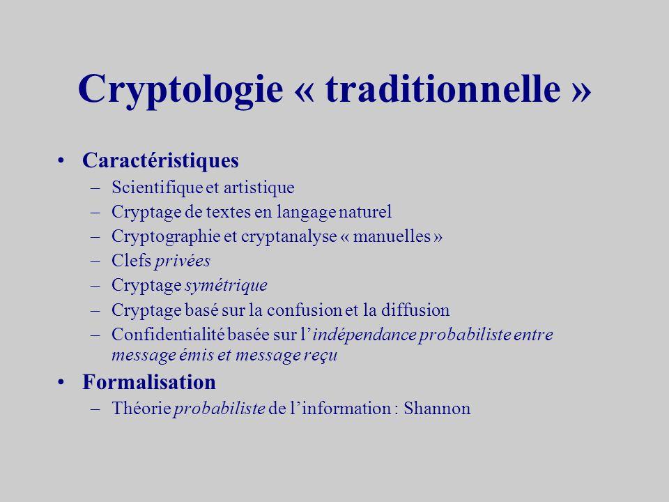 Définitions Cryptologie –La science du secret –Composée de Cryptographieécriture du secret Cryptanalyseanalyse du secret –Etymologie « crypto » : cach