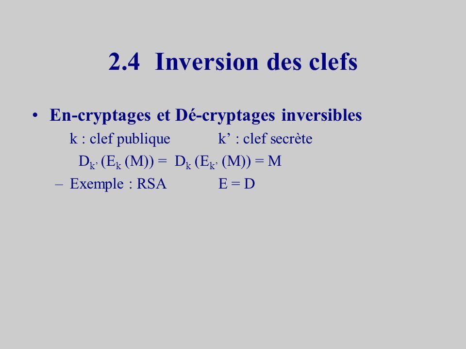 2.3Formalisation Ptextes en clair Kclefs de signature Asignatures S : P x K Afonction de signature V: P x K x A { vrai, faux } vérification