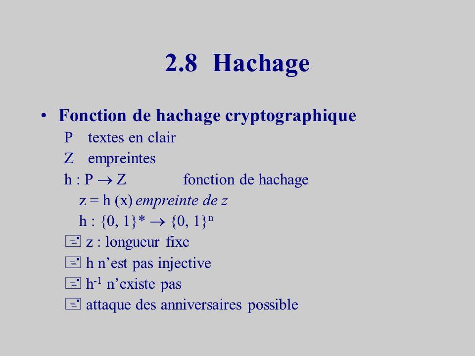 2.7Falsification et Répudiation Eve ne peut décrypter y seul Bob possède k b Bob ne peut falsifier x Alice ne peut répudier x Eve ne peut signer x seule Alice peut produire E k a (x) Cas dun message secret –La signature nest pas publique