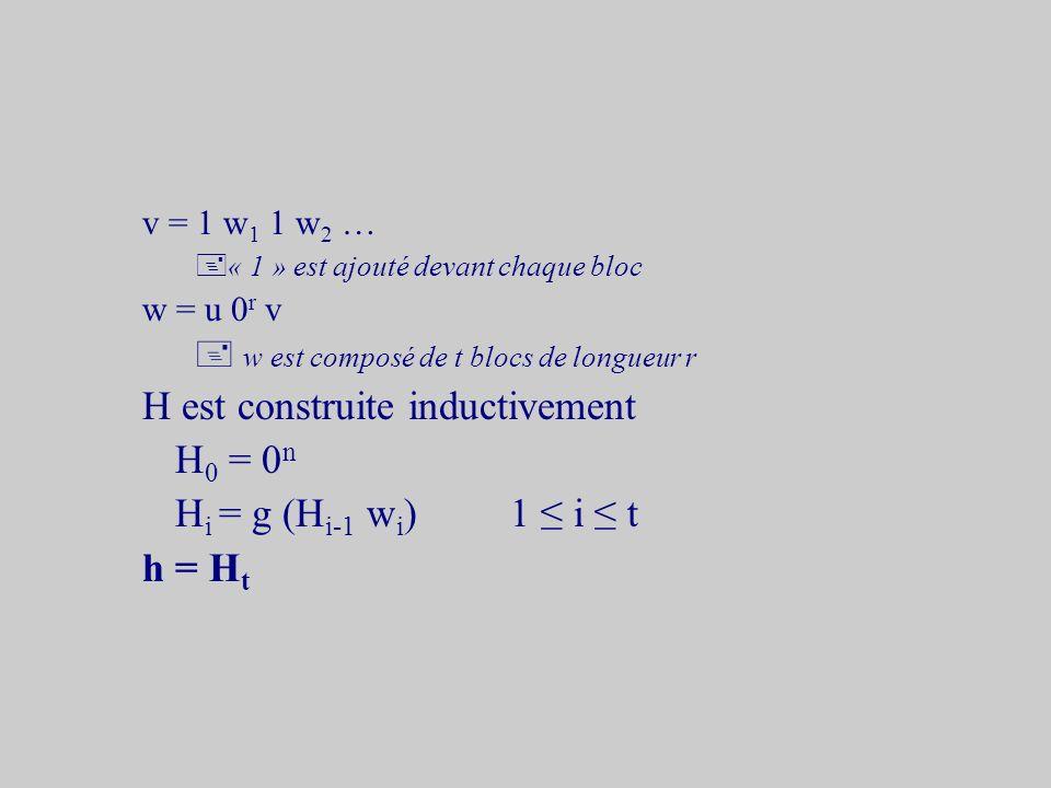 Construction de Merkle g : {0, 1} m {0, 1} n r = m - n > 1 x {0, 1}*l = |x| u = 0 i x|u| mod r = 0 + x est complété avec des « 0 » en tête y = 0 j l|y| mod (r-1) = 0 + l est complété avec des « 0 » en tête y = t 1 t 2 …|t i | = r-1 y est découpé en blocs de longueur r-1