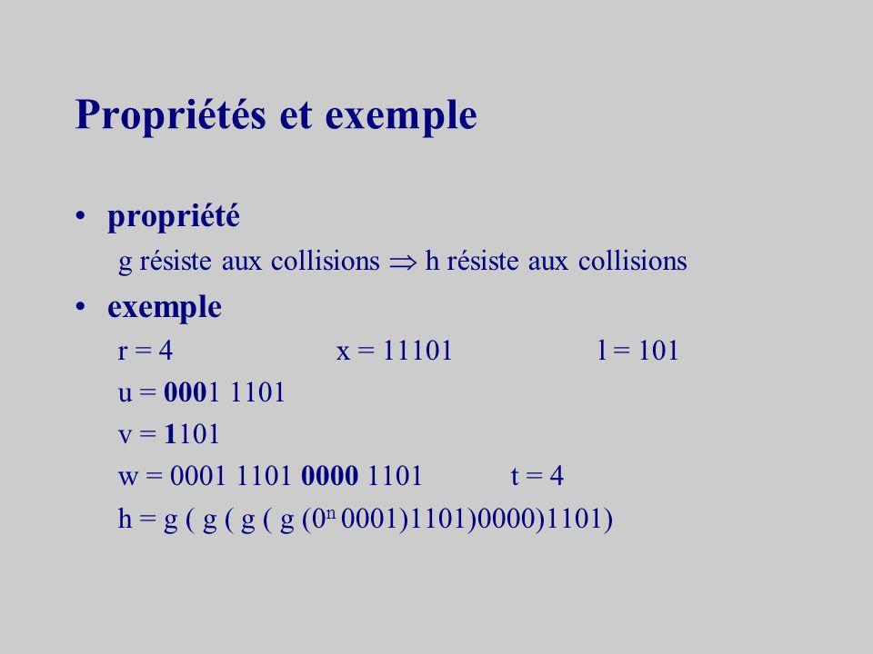 v = 1 w 1 1 w 2 … +« 1 » est ajouté devant chaque bloc w = u 0 r v w est composé de t blocs de longueur r H est construite inductivement H 0 = 0 n H i = g (H i-1 w i )1 i t h = H t