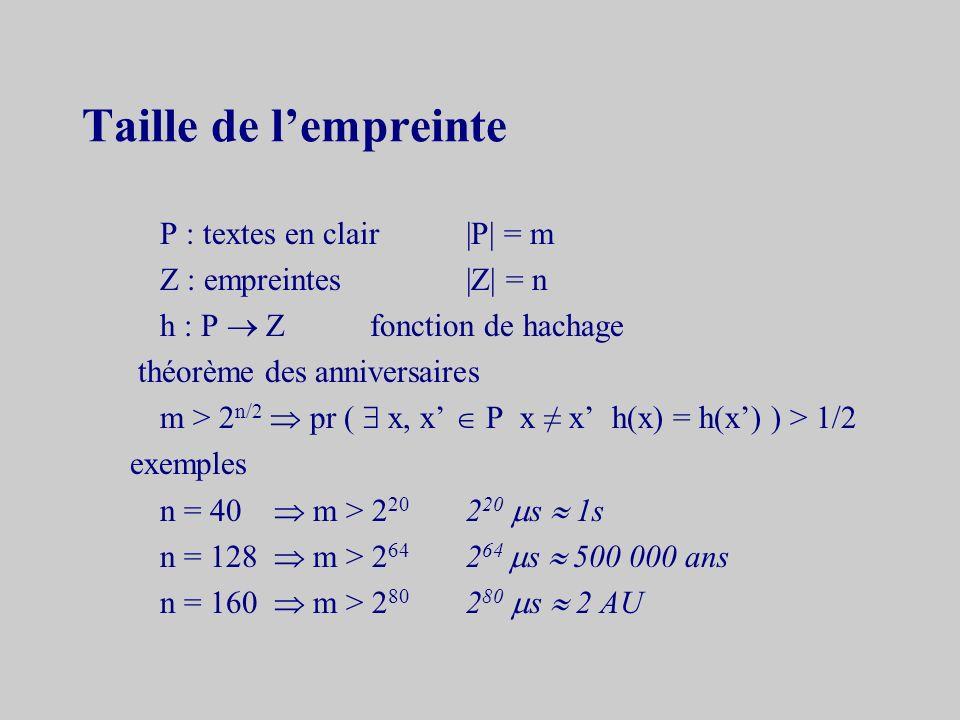 Propriétés et exemple propriété g résiste aux collisions h résiste aux collisions exemple r = 4x = 11101l = 101 u = 0001 1101 v = 1101 w = 0001 1101 0000 1101t = 4 h = g ( g ( g ( g (0 n 0001)1101)0000)1101)