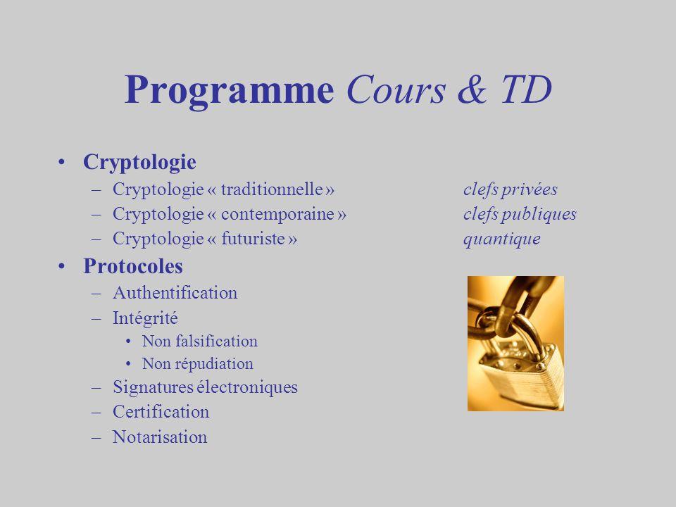 Programme Cours & TD Cryptologie –Cryptologie « traditionnelle »clefs privées –Cryptologie « contemporaine »clefs publiques –Cryptologie « futuriste »