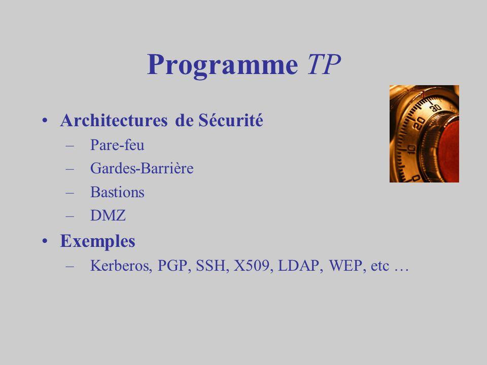Programme TP Architectures de Sécurité –Pare-feu –Gardes-Barrière –Bastions –DMZ Exemples –Kerberos, PGP, SSH, X509, LDAP, WEP, etc …