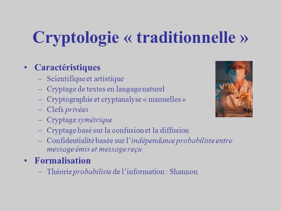 Cryptologie « traditionnelle » Caractéristiques –Scientifique et artistique –Cryptage de textes en langage naturel –Cryptographie et cryptanalyse « ma