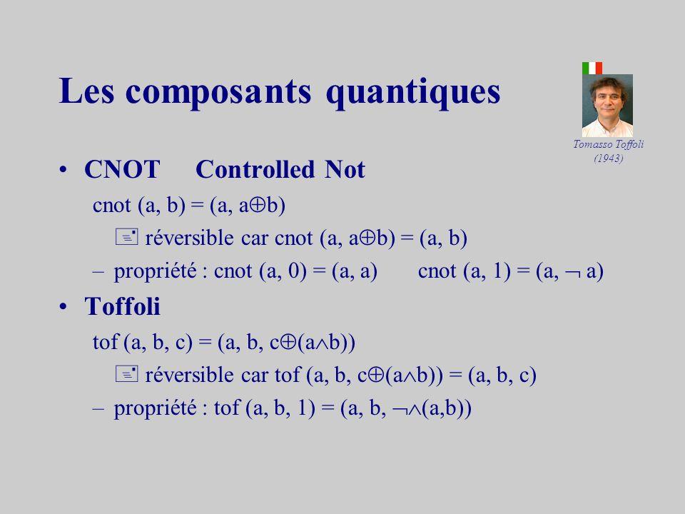 Les composants « classiques » –on sait que toute fonction booléenne peut être réalisée à laide du seul composant (NAND) défini par (0,0) = (0,1) = (1,