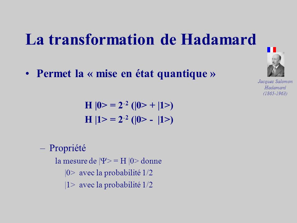 Les composants quantiques CNOTControlled Not cnot (a, b) = (a, a b) réversible car cnot (a, a b) = (a, b) –propriété : cnot (a, 0) = (a, a) cnot (a, 1