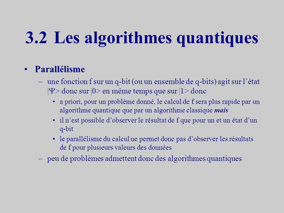 La transformation de Hadamard Permet la « mise en état quantique » H |0> = 2 -2 (|0> + |1>) H |1> = 2 -2 (|0> - |1>) –Propriété la mesure de | > = H |