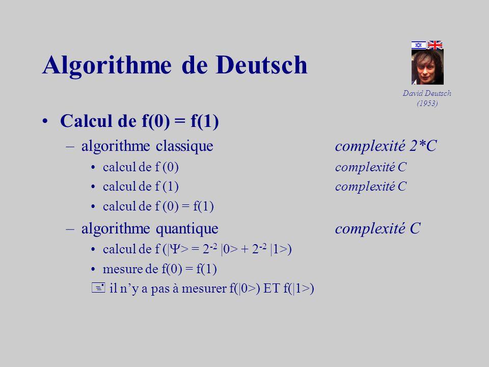 3.2Les algorithmes quantiques Parallélisme –une fonction f sur un q-bit (ou un ensemble de q-bits) agit sur létat | > donc sur |0> en même temps que s