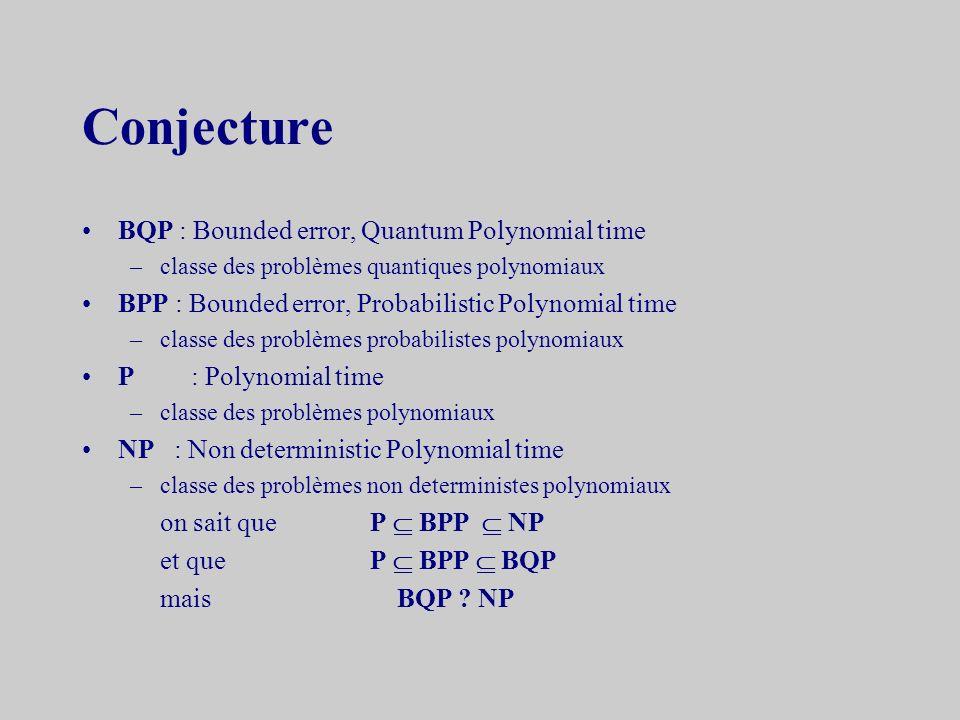 3.3la complexité quantique Constatations –le calcul quantique est plus rapide que le calcul classique à cause du parallélisme mais –la mesure des résu