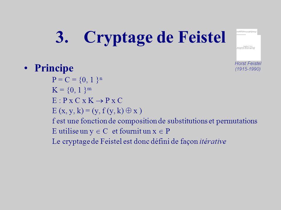 Exemple P = C = K = L = Z 26 z 1 = kz i = f i (x i-1 ) i > 1 x P y C p,q K E (x i, z i ) = x i + z i mod 26 D (y i, z i ) = y i + z i mod 26