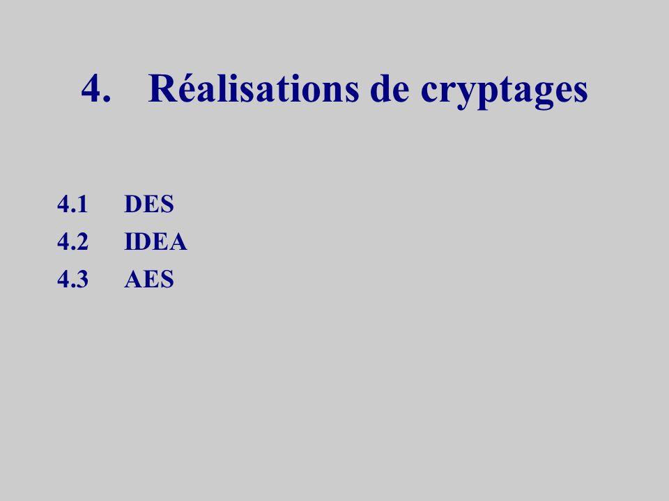 Cryptanalyse –force brute essais systématique de toutes les clefs –cryptogrammes uniquement pas de solutions connues –couples de messages en clair et