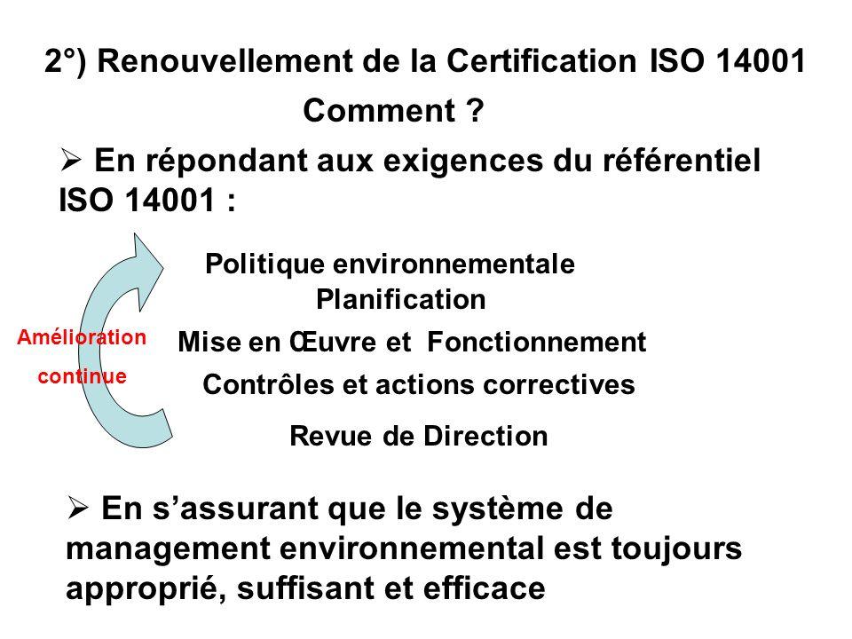 En sassurant que le système de management environnemental est toujours approprié, suffisant et efficace Amélioration continue 2°) Renouvellement de la Certification ISO 14001 Comment .