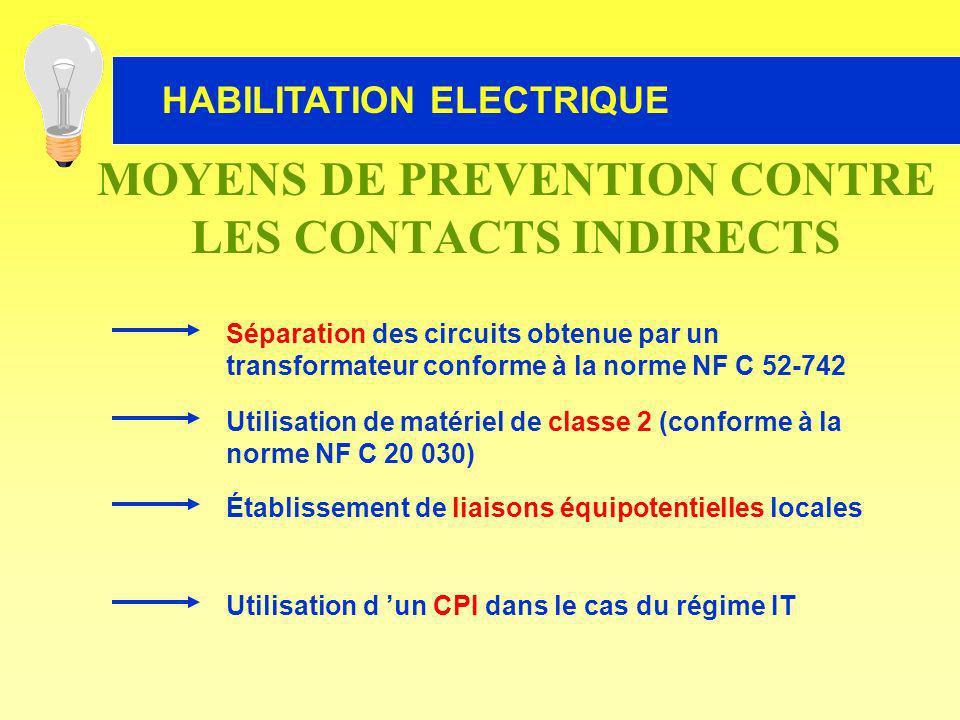 Utilisation de matériel de classe 2 (conforme à la norme NF C 20 030) Établissement de liaisons équipotentielles locales Utilisation d un CPI dans le